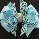 "Ocean Blue 4"" Boutique Scroll Girls Hair Bow Clip Rhinestone Bling"