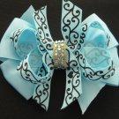 "Ocean Blue 4"" Boutique Scroll Girls Hair Bow Clip Rhinestone Bling"