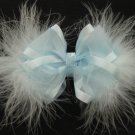 Baby BLUE Infant Baby Girls Easter Elegant Satin Sheer Glitz Marabou Hair Bow Headband