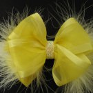 YELLOW Infant Baby Girls Easter Elegant Satin Sheer Glitz Marabou Hair Bow Headband