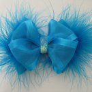 TURQUOISE Infant Baby Girls Easter Elegant Satin Sheer Glitz Marabou Hair Bow Headband