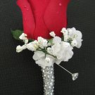 RED Wedding Groom Rose Bud Silk Flower Boutonniere Crystal Rhinestone Bling Stem