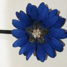 Royal Blue Daisy Silk Flower Skinny Stretch Headband with Swarovski Crystals