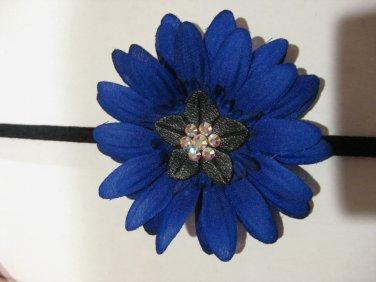 Royal Blue Daisy Silk Flower Skinny Stretch Headband with Swarovski Crystals
