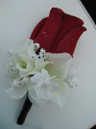 Black Wrap Stem Red Rose Cream Hydrangea Flower Boutonniere
