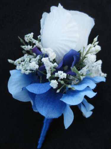 Satin Wrap Stem White Rose Blue Hydrangea Flower Boutonniere