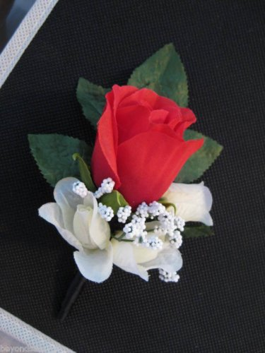 Black Satin Wrap Stem Red Rose Flower Boutonniere Groom Wedding