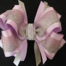 Wedding Flower Girl Easter Lavender Silver Glitter Boutique Hair Bow Clip