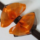 Baby Girl Fall Thanksgiving Elegant Sheer Organza Glitz Hair Bow Headband Clip