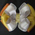 Girls Silver Gold Satin Rhinestone Hair Bow Christmas Clip Barrette