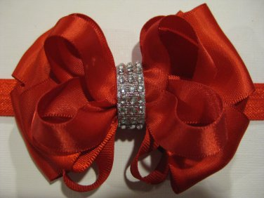 Holiday Christmas Red Elegant Boutique Rhinestone Hair Bow Headband