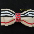 Girls Ladies Rhinestone Bling Tan Red Stripe Retro Hair Bow Clip Barrette