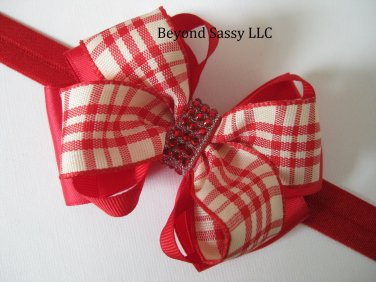 Girls Christmas Valentines Day Red Plaid Bling Dual Hair Bow Headband