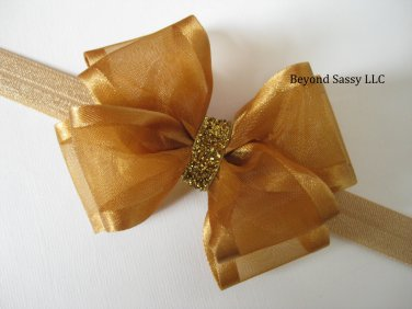 Baby Girl Christmas Holiday Gold Sheer Organza Glitz Hair Bow Headband or Clip