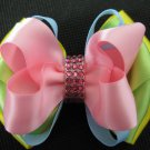Girls Easter Elegant Boutique Rhinestone Hair Bow Clip Barrette