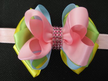 Girls Easter Elegant Boutique Rhinestone Hair Bow Pink Headband