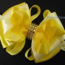 Girls Easter YELLOW Boutique Rhinestone Hair Bow Headband Clip