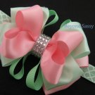 Girls Easter Mint Green Pink Boutique Rhinestone Hair Bow Headband Clip