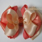 Girls Coral Peach Boutique Rhinestone Hair Bow Headband Clip