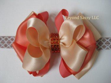 Girls Coral Peach Boutique Rhinestone Hair Bow Headband Clip