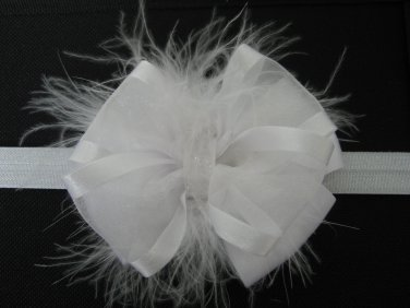 Girls Easter Baptism White Satin Sheer Glitz Marabou Hair Bow Headband