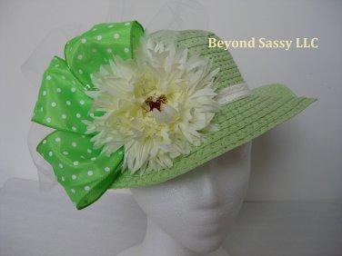 Toddler Girls Spring Easter Bonnet Derby Style Green Polka Dot Ivory Flower Straw Hat