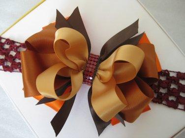 Girls Fall Thanksgiving Boutique Hair Bow Crochet Headband