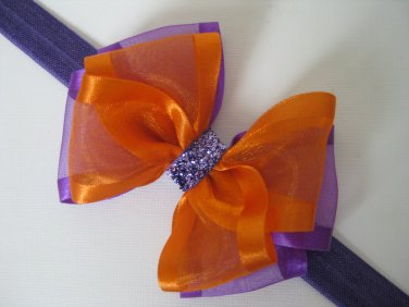 Baby Girls Halloween Black Purple Orange Organza Glitz Hair Bow Headband