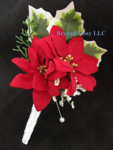 Red White Poinsettia Silk Flower Wedding Boutonniere