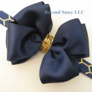 Girls Christmas Navy Satin Glitz Hair Bow Metallic Gold Honeycomb Headband