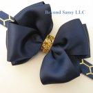 Girls Christmas Navy Satin Glitz Hair Bow Metallic Gold Honeycomb Headband