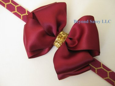 Girls Christmas Wine Satin Glitz Hair Bow Metallic Gold Honeycomb Headband