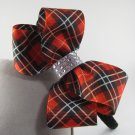 Girl Christmas Rhinestone Bling Red Plaid Hair Bow Black Glitter Headband