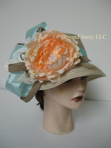 Mint Peach Flower Easter Kentucky Derby Church Wedding Tan Bucket Straw Hat