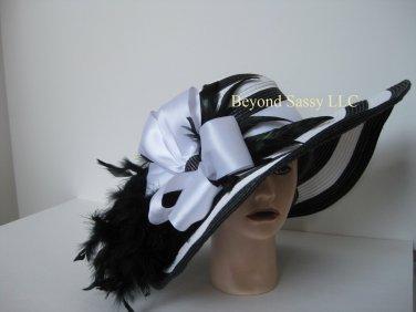 Black White Stripe Rhinestone Bow Kentucky Derby Church Wedding Wide Brim Straw Hat