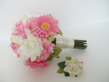 2pc Wedding Pink Cream Bridal Silk Flower Bouquet Boutonniere Gardenia Daisy