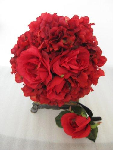 2pc Wedding Red Black Bridal Silk Rose Flower Bouquet Boutonniere Set