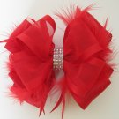 Girls Christmas Holiday Rhinestone Feather Boutique RED Hair Bow Barrette