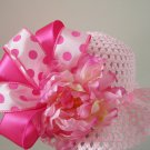 Flower Girl Wedding Easter Bonnet Tea Party Polka Dot Pink Floral Straw Hat