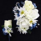 Wedding Prom Navy White Rose Flowers Wrist Corsage Boutonniere Set