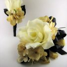 Wedding Prom Metallic Gold Black Cream Rose Flower Wrist Corsage Boutonniere Set