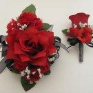 Wedding Prom Metallic Black Red Rose Flower Wrist Corsage Boutonniere Set