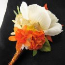 Fall Wedding Orange Cream Silk Rose Flower Crystal Rhinestone Boutonniere
