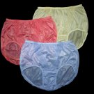 "LOT OF 3 NYLON BRIEF PANTIES VINTAGE STYLE, PANTY HIP36-38"" RED PURPLE YELLOW"