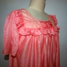VINTAGE SHEER NYLON SLEEP WEAR, LACE DETAIL Coral COLOR,WOMENS NIGHTGOWN.