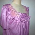 VINTAGE SHEER NYLON SLEEP WEAR, LACE DETAIL PURPLE COLOR,WOMENS NIGHTGOWN.