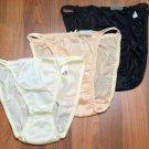 """3 Nylon String bikini panties, Feminine Silky Lingerie Creme, Blac, Nude 34-37"""""""