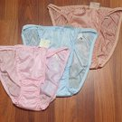 3 Nylon String bikini panties, Feminine Silky Lingerie Blue, Pink, Brown 34-37""