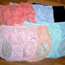 12 PAIR, 7 COLORS, WOMEN'S NYLON BRIEF PANTIES VINTAGE STYLE, HIP 38-40""