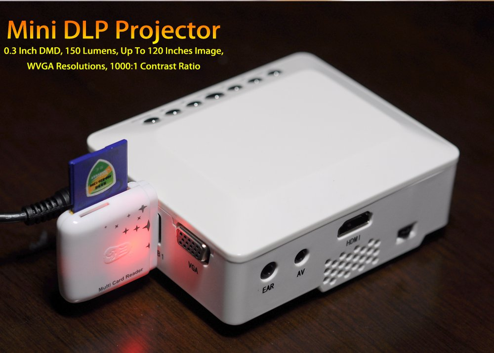Mini dlp projector up to 120 inches image white for Mirror mini projector